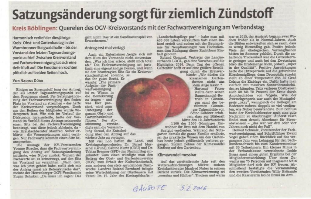 Presseartikel vom GÄUBOTE vom Samstag beim Kreis- Obst- und Gartenbautag in Warmbronn am 07.02.2016